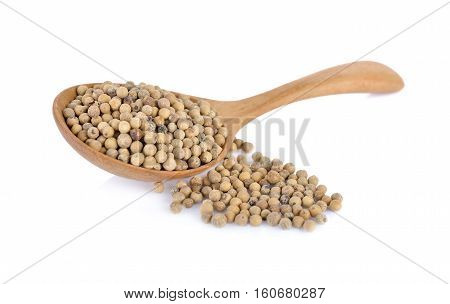 dry pepper in wooden spoon and on white background