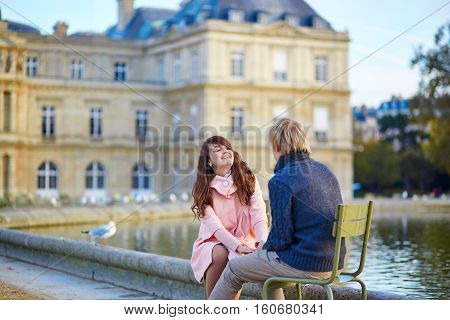 Young Dating Couple In The Luxembourg Garden