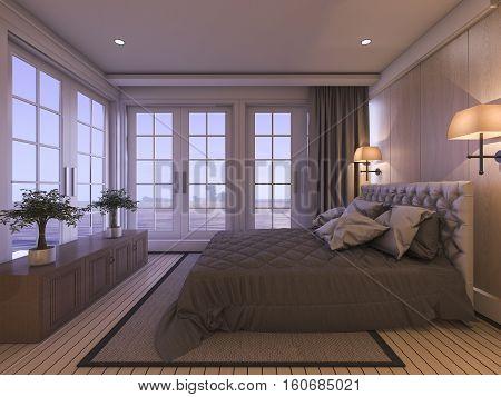 3d rendering romantic luxury bedroom with plant in twilight scene