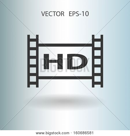 Flat icon of hd video. vector illustration