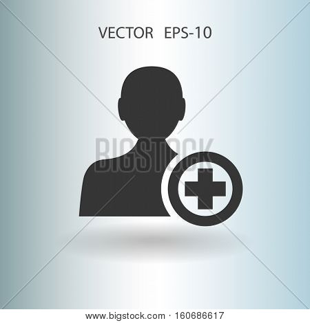 Flat icon of add friend vector illustration