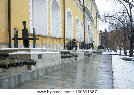Old artillery exposition in Moscow Kremlin.