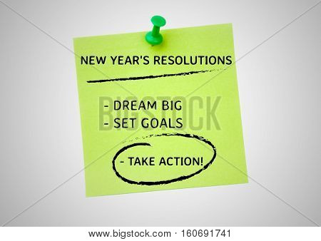 New year resolution goals written on sticky notes against white background