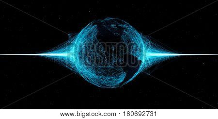 3D Abstract Technology Globe Illustration. Map Over Plexus Intersections.