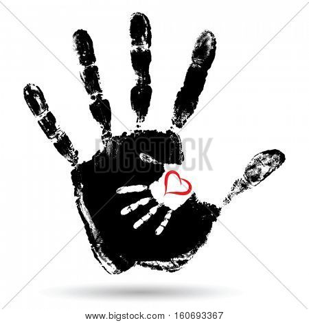 Vector concept or conceptual cute paint hand of mother child and heart shape isolated on white