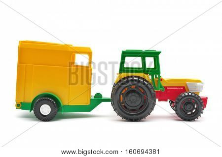Toy tractor isolated. Element of design.