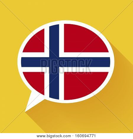 White speech bubble with Norway flag and long shadow on yellow background. Norwegian language conceptual illustration