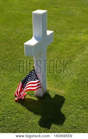 One of the 9000 graves at the American war cemetery in Normandy, France