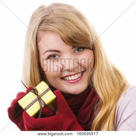 Woman Holding Wrapped Gift For Christmas Or Other Celebration