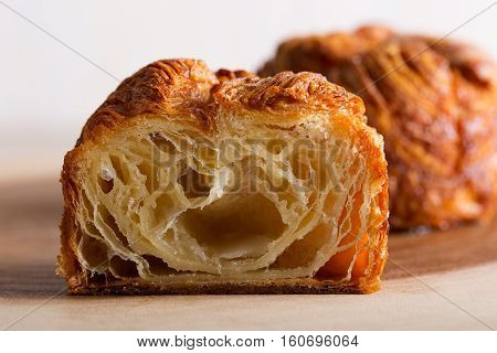 delicious and sweet kouign amann traditional breton pastry sliced
