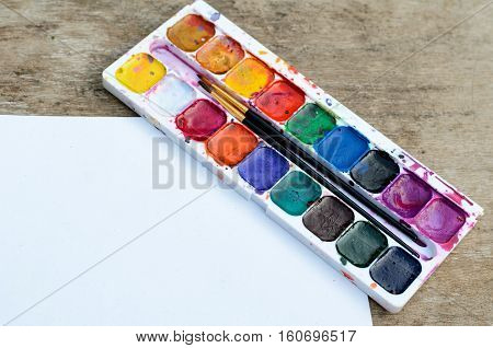 Old and used water color box for drawing pictures