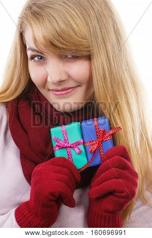 Woman Holding Wrapped Gifts For Christmas Or Other Celebration