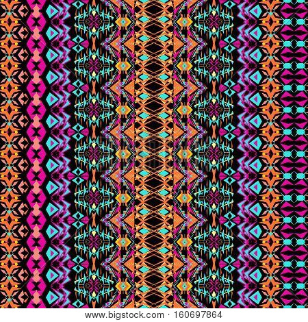 Vector seamless texture. Tribal geometric striped pattern. Aztec ornamental style. Ethnic native american indian ornaments