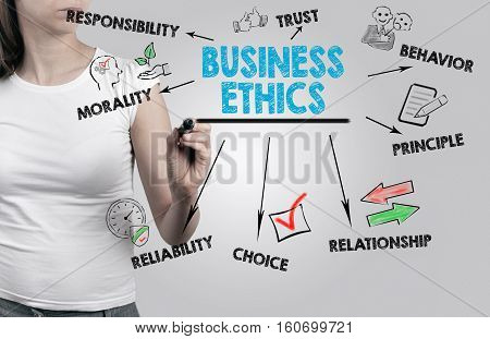 Beautiful woman writing - Business Ethics concept. Gray background