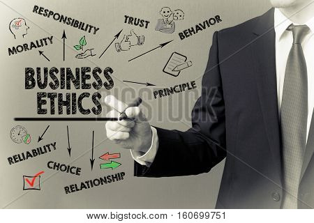 Business man writing - Business Ethic concept. Green background