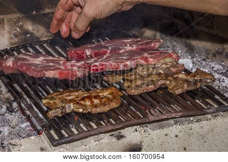 roasting fresh meat in the fireplace . Make BBQ