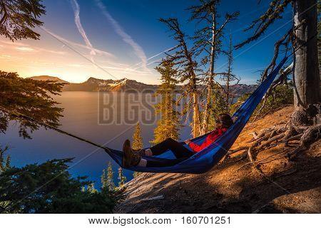 Women Relaxing In Hammock Crater Lake Oregon