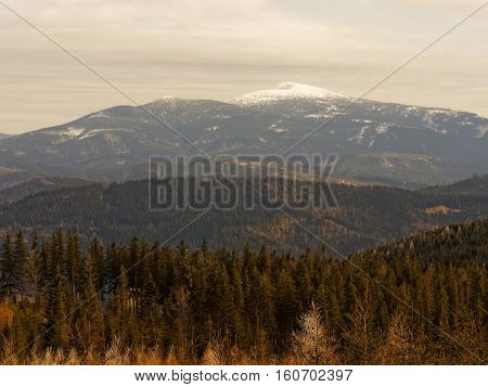 Snow-capped peak Babia Gora i moutains Beskid in Poland