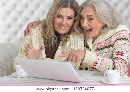 Portrait of senior and mature women with laptop