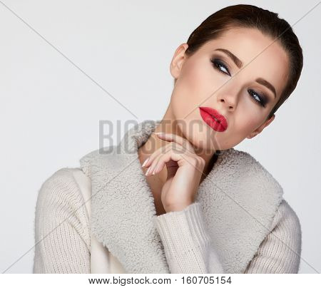 beautiful woman portrait  in warm clothing
