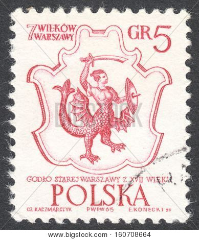 MOSCOW RUSSIA - CIRCA NOVEMBER 2016: a post stamp printed in POLAND shows Arms of Warsaw the series