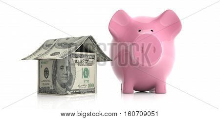 3D Rendering Pink Piggy Bank And A Dollars House