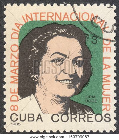 MOSCOW RUSSIA - CIRCA NOVEMBER 2016: a post stamp printed in CUBA shows the portrait of Lydia Doce the series