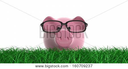 3D Rendering Piggy Bank On Grass