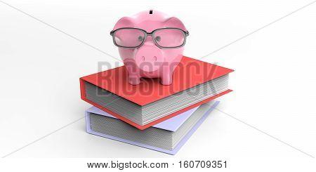 3D Rendering Piggy Bank On Books