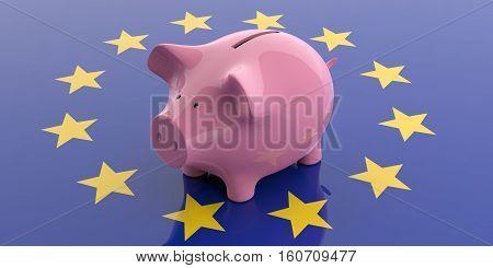 3D Rendering Pink Piggy Bank On Eu Flag