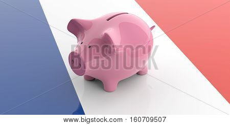 3D Rendering Pink Piggy Bank On France Flag