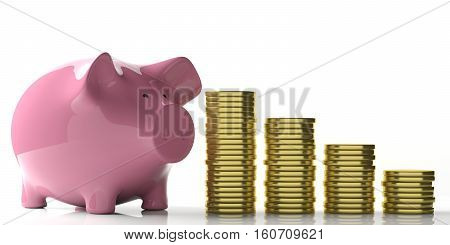 3D Rendering Piggy Bank And Golden Coins On White Background