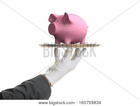 3D Rendering Pink Piggy Bank On A Tray