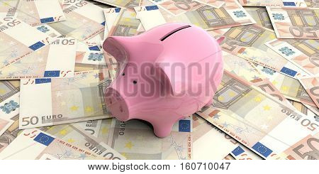 3D Rendering Pink Piggy Bank On 50 Euro Banknotes