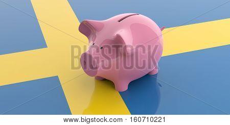 3D Rendering Pink Piggy Bank On Sweden Flag