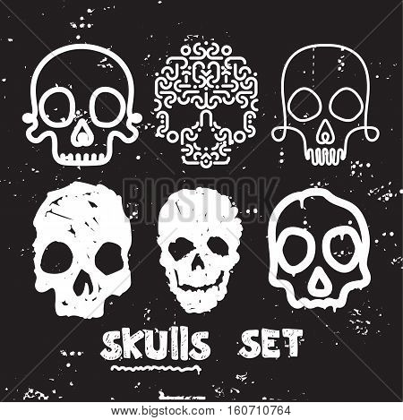 Collection Of hand drawn doodle cute stylized skulls In monochrome. Universal vector skulls set, Illustrations for typography, textile, website, design