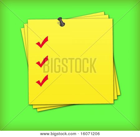 yellow adhesive note with completed checklist