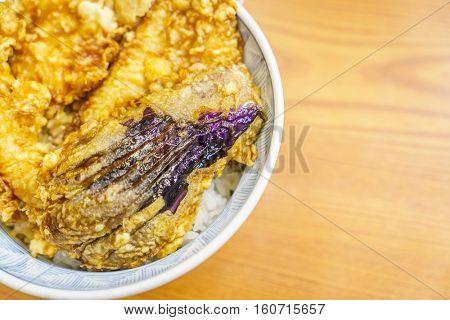 Tempura bowl on table