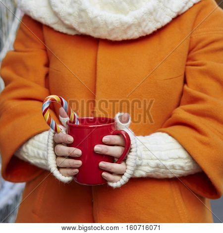 Woman Handsholding A Cozy Mug With Hot Cocoa