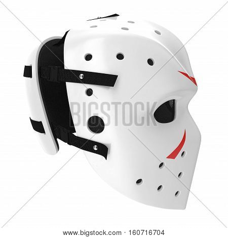 vintage hockey mask on white background. Side view. 3D illustration