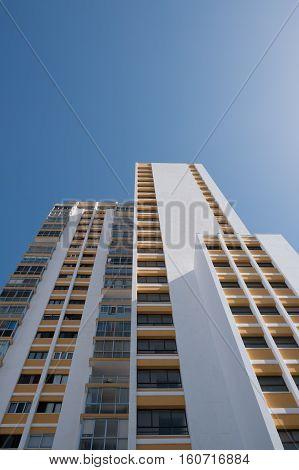 White Building On Blue Sky , Apartment Building Facade