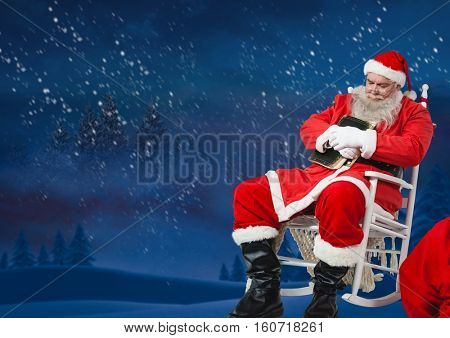 Santa sitting on chair and sleeping at night