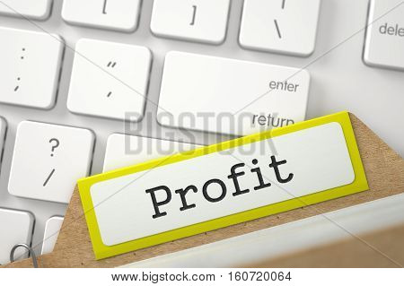 Profit. Yellow Sort Index Card Overlies Modern Laptop Keyboard. Archive Concept. Closeup View. Blurred Image. 3D Rendering.