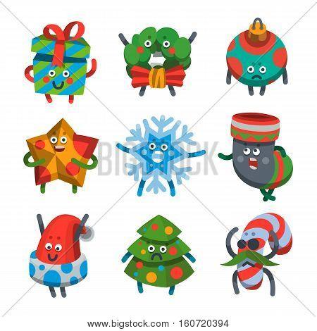 Vector illustration emoticons icons set on theme of winter holiday. Emoji emoticons Happy New Year icon. Emotion merry Christmas funny gift star toy tree snowflake. Xmas sticker icon. Flat cartoon