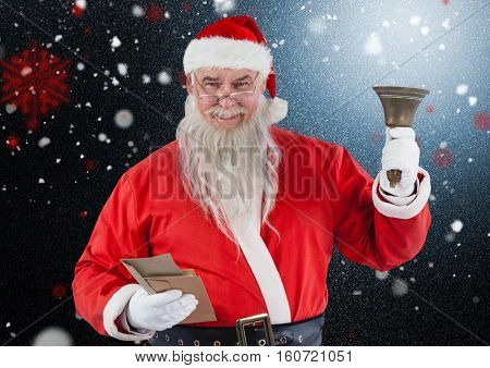 Portrait of santa claus holding envelop and christmas bell against digitally generated background
