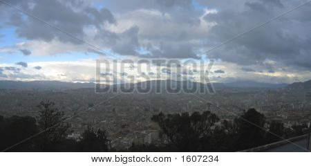 Storm With Cloudy Sky Over The City, Marseille, South Of France, Panorama