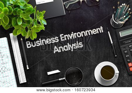 Black Chalkboard with Business Environment Analysis Concept. 3d Rendering. Toned Illustration.