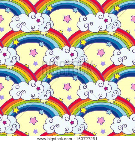 Hand drawn cartoon rainbow, clouds and stars seamless pattern. Fairy background cartoon sky, vector illustration
