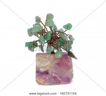 Gemstone Tree, agates, isolated on white background