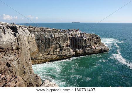 The coast of Atlantic ocean in Cascais Portugal